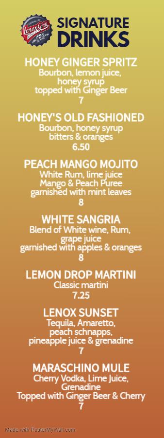 Signature drinks menu
